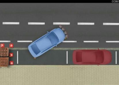 Parkavimo sistema priekyje